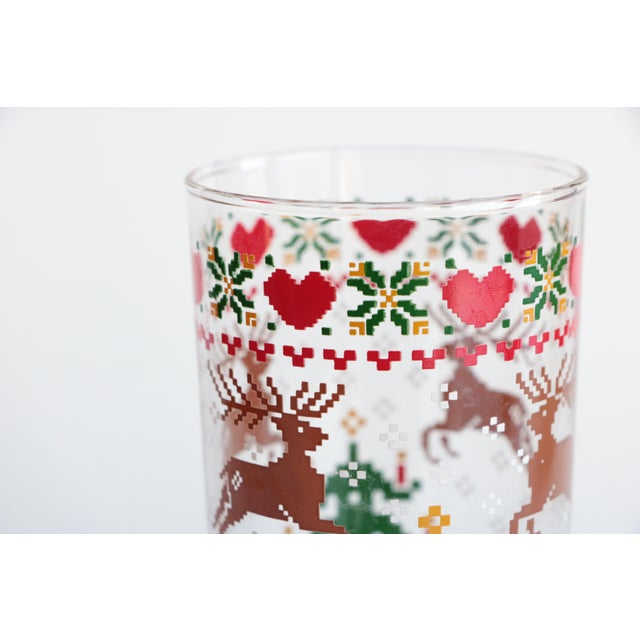 Americana 8-Bit Pixel Style Christmas Glasses - Set of 4 For Sale - Image 3 of 5