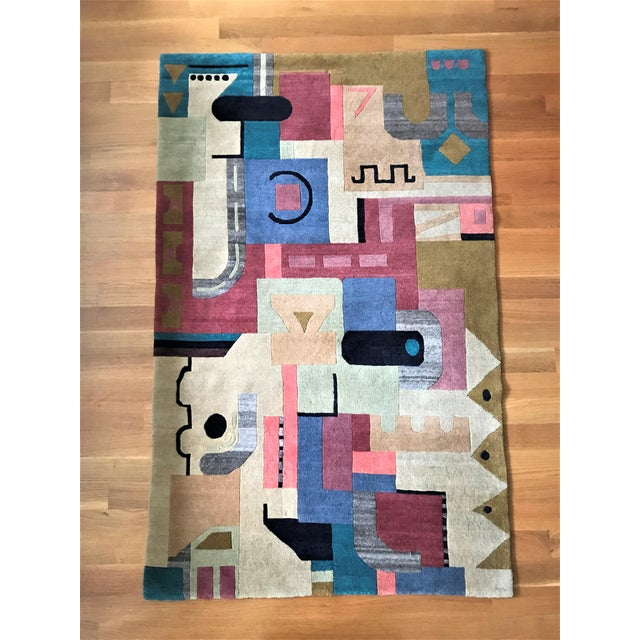 Textile Vibrant Geometric Cut-Pile Wool Rug, C.1970 For Sale - Image 7 of 7