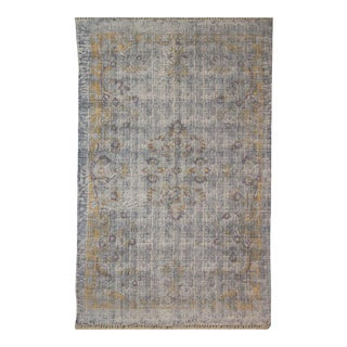 Distressed Floral Cotton Dhurrie Rug - 4′ × 6′ For Sale