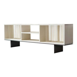 """Modern Carter Credenza Vinyl Storage Case in Bleached Maple by Ordinal Indicator - 60"""" For Sale"""