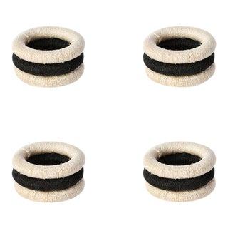 Stripe Sisal Napkin Rings Cream & Black - Set of 4 For Sale