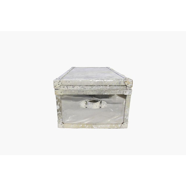 Forest Collection Steel and Cowhide Silver Trunk - Image 4 of 5