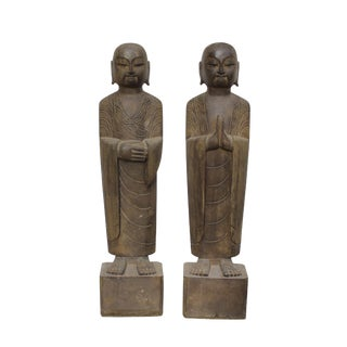 Pair Chinese Stone Carved Standing Monk Lohon Statue For Sale