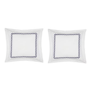 Catena Euro Shams, Set of 2 in Navy For Sale