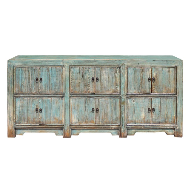 Distressed Rustic Chalk Pastel Blue Sideboard Buffet Table Cabinet For Sale