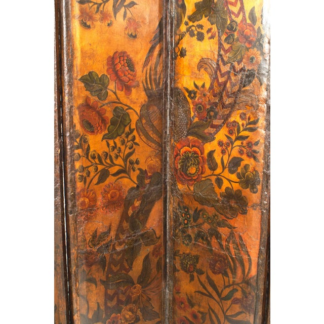 French Provincial Renaissance style (possibly 17th century) leather mounted six panel screen with a gold background and...