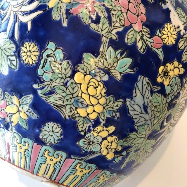 Ceramic Vintage Blue Chinoiserie Ceramic Vase For Sale - Image 7 of 12