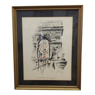 """1960s """"l'Arc De Triomphe"""" Watercolor and Ink Architectural Painting by John Haymson, Framed For Sale"""