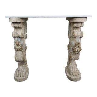 Marble-Top Console on Carved Pedestals, Circa 1900 For Sale