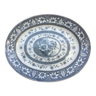 1883 Palmyra Blue Transferware Platter For Sale