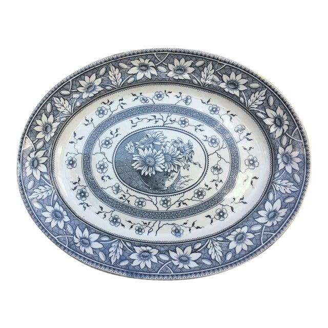 1883 Palmyra Blue Transferware Platter For Sale
