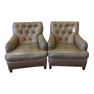 1960s Vintage Beige Tufted Back Leather Chairs- A Pair For Sale