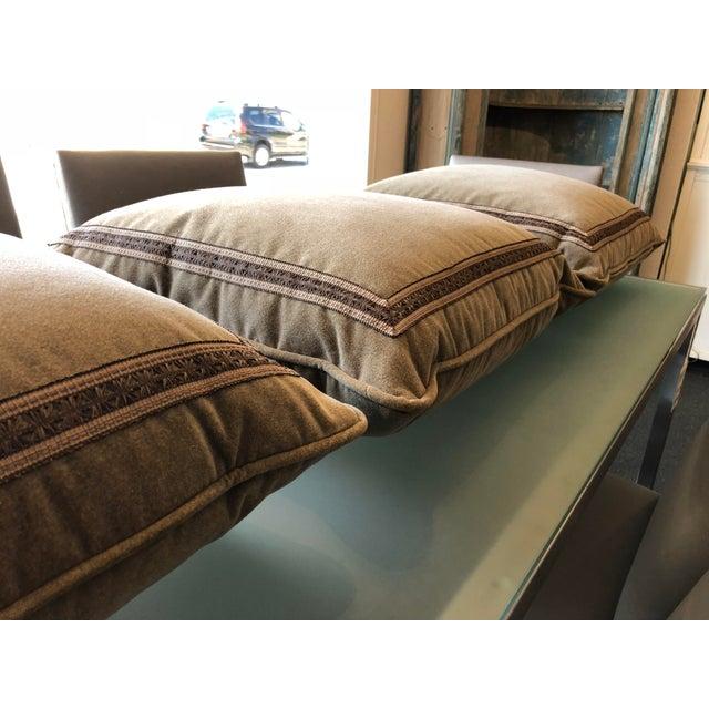Custom Taupe Velvet Floor Pillows - Set of 3 | Chairish