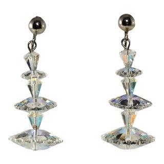 Margarita Clear Iridescent Dangle Earrings Vintage For Sale