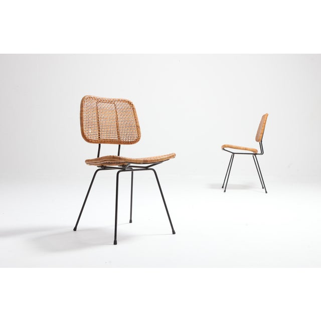 Mid-Century Modern Cane and Black Metal Tropical Dining Chair From the 50s For Sale - Image 3 of 10