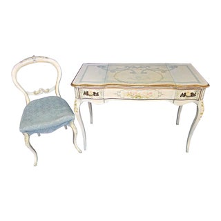 Venetian Hand Painted Vanity Table & Chair - A Pair For Sale