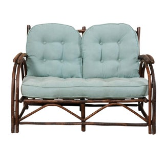 "Sweet Wood Loveseat With Plush Cushion by Furniture Makers ""Old Hickory"" For Sale"