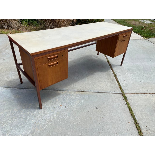 This Industrial Jens Risom desk was rescued from the home of the legendary oceanographer, Dr. Fred Speiss (1919-2006) in...
