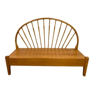 Vintage Mid-Century Teak Peacock Bench For Sale