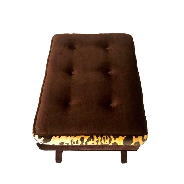 Leopard & Brown Velvet Upholstered X Bench For Sale - Image 4 of 9