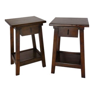 Pair of Custom Walnut Side Tables or Nightstands with Drawer and Shelf For Sale