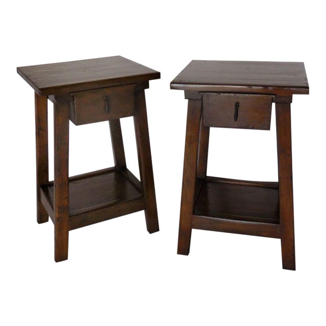 Pair of Custom Walnut Side Tables or Nightstands with Drawer and Shelf - Image 1 of 5