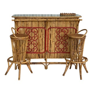 Vintage Italian Bamboo Bar Counter With Pair Stools-Set of Three For Sale