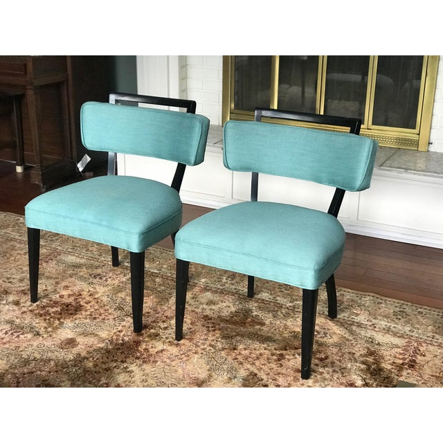 Modern Black Lacquer and Teal Accent Chairs - A Pair For Sale In Seattle - Image 6 of 13