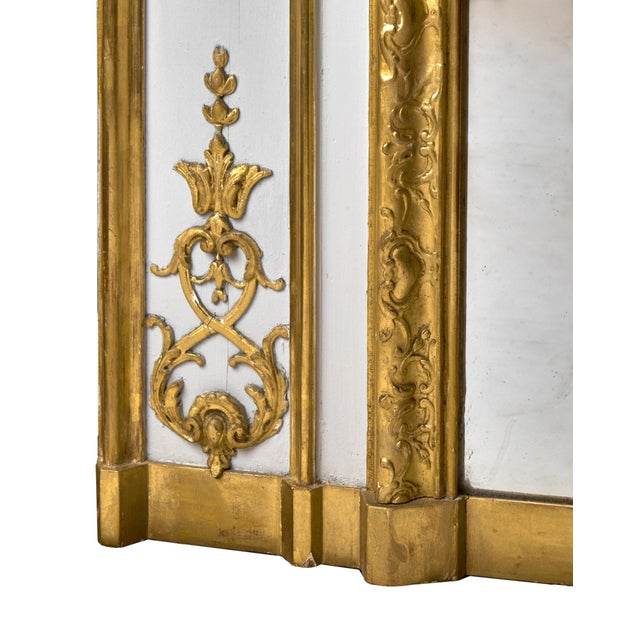 19th Century Louis XVI Gold Leaf Trumeau Mirror For Sale - Image 9 of 9