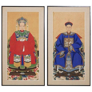 Pair of Chinese Patriarch Matriarch Ancestral Portraits For Sale