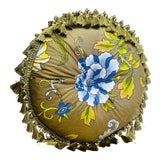 Image of Schumacher Ching Butterflies Floral Tufted Button Round Feather Pillow For Sale