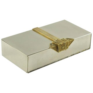 Maria Pergay Style 1960s Stainless Steel and Brass Decorative Box For Sale