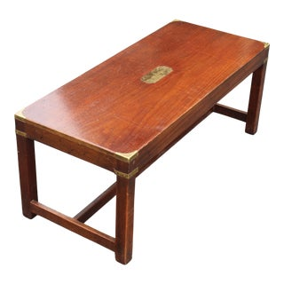 19th C. English Campaign Style Mahogany Coffee Table For Sale