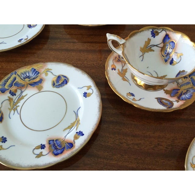 Royal Stafford bone china made in England set of 6 cups and saucers and 6 dessert plates. Numbered 8580 on the cups...