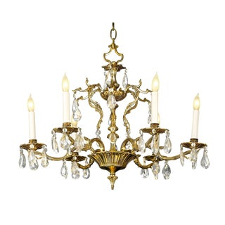 Six-Light Crystal and Bronze Chandelier For Sale