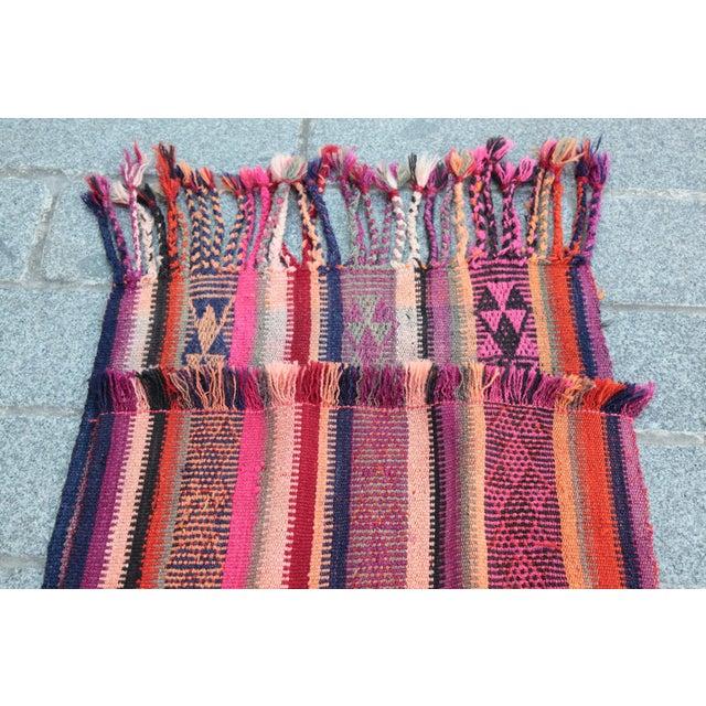 Colorful Striped Cicim Kilim -5' X 1' 5'' Kilim - Image 10 of 11