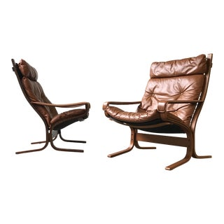 1960s Mid Century Modern Ingmar Relling for Westnofa Leather Siesta Lounge Chair For Sale