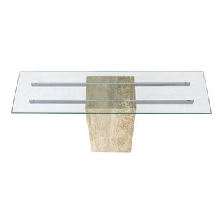Travertine Chrome Glass Top Console Sofa Table For Sale