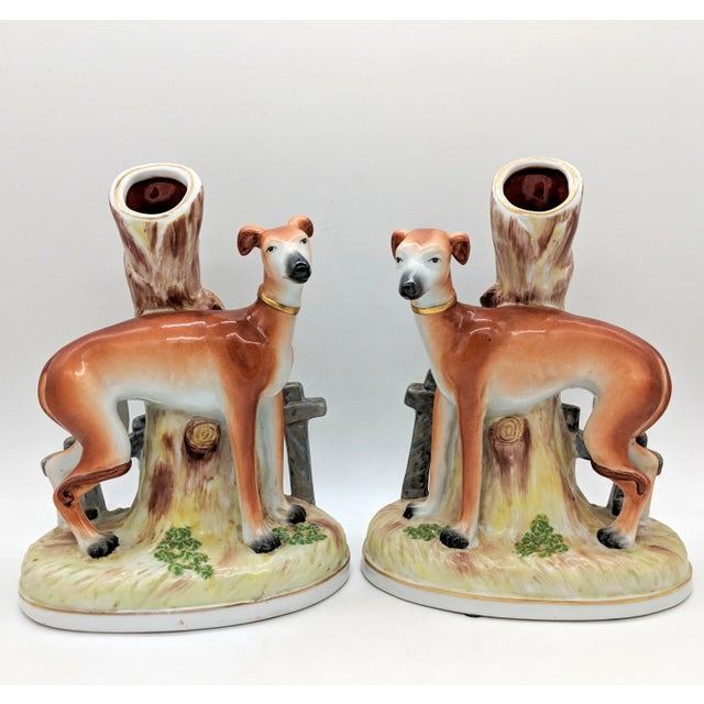 20th Century Staffordshire Greyhound/ Whippet Dog Spill Vases - a Pair For Sale - Image 9 of 9