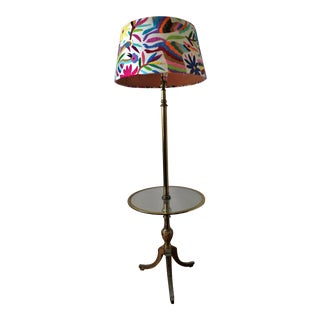 Mid-Century Modern Iron and Glass Floor Lamp With Otomi Embroidery Lamp Cover For Sale