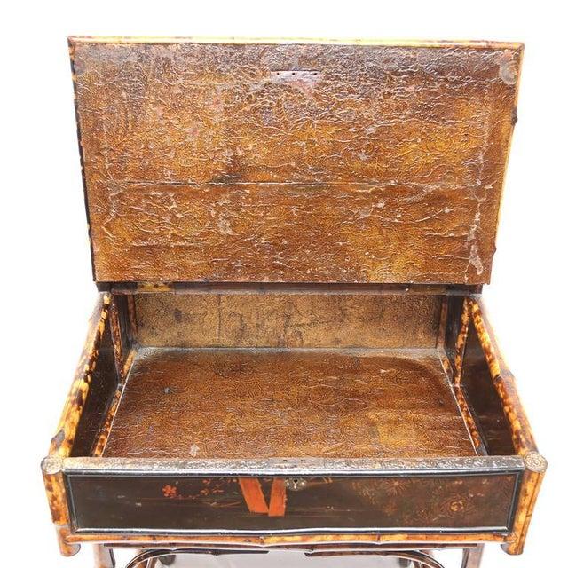 Animal Skin 1900s Boho Chic Bamboo Davenport Desk For Sale - Image 7 of 8