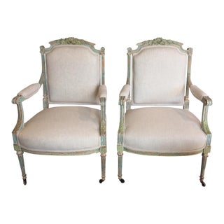 1920s Carved Wood French Armchairs - A Pair