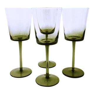 Vintage Smoke Gray Wine Glasses - Set of 4 For Sale