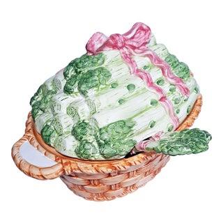 Vintage Majolica Style Asparagus Basket Tureen & Ladle For Sale