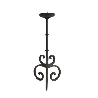 """Vintage Mid Century Wrought Iron 14"""" Tall Candle Holder For Sale"""