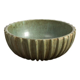 Large Ribbed Bowl in Green Glaze by Arne Bang, 1950s