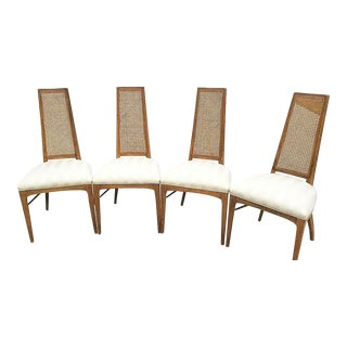 Mid-Century Modern Vintage Drexel High Back Cane Dining Chairs - Set of 4 For Sale