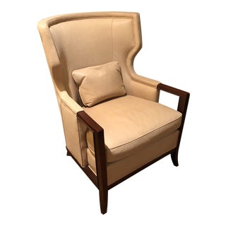 Contemporary Baker Furniture Company Ecru Leather Wingback Chair