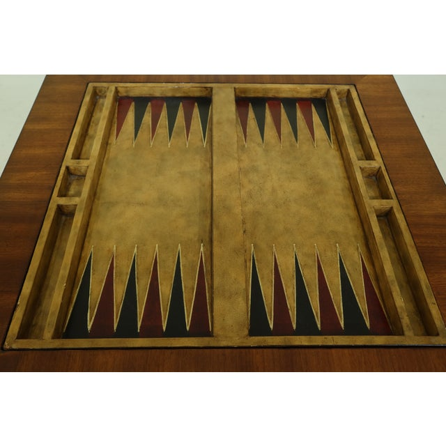 1990s Maitland Smith Square Mahogany Games Table W. Reversible Top For Sale - Image 5 of 12