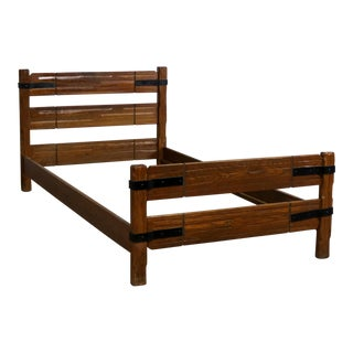 Ranch Oak Western Cowboy Twin Bed With Strap Details Attributed to A. Brandt Company